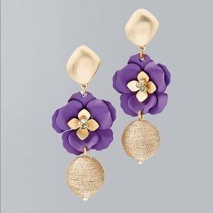 WHBM Purple Flower Drop Earrings, NWT